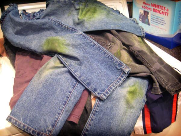Как вывести пятна от травы на джинсах, на белой и цветной одежде